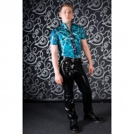 Blue latex top met rits