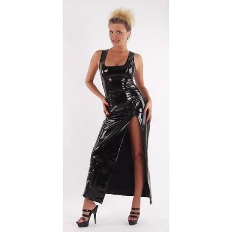 Lange jurk met gewaagde split in lak