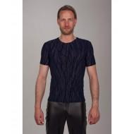 Shirt met lineare flockprint