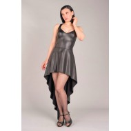 Leatherlook jurk A-symetrisch