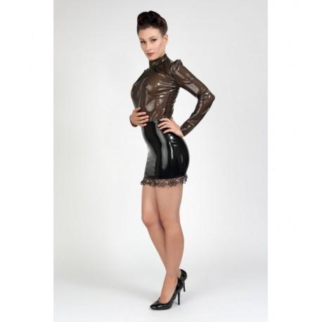 Hoge getailleerde latex rok