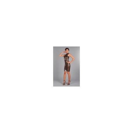 Transparante latex jurk met plooiband