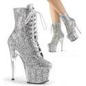 Enkellaars Glitter Zilver
