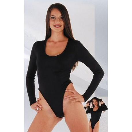 Body in zwart/rood/wit stretch
