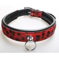 Halsband van rood-zwart luipaard print