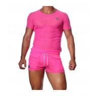 Happy T-Shirt neon Pink