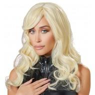 Pruik met golvend blond haar