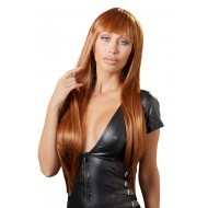 Koperkleurige pruik met lang haar