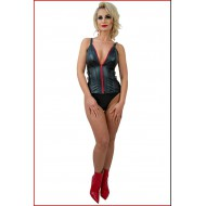 Leatherlook corset met rode accenten